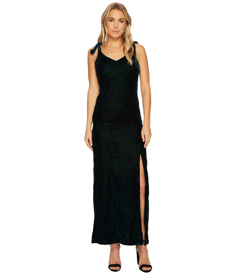 J.O.A. Velvet Tie Shoulder Maxi Dress (Forest) Women