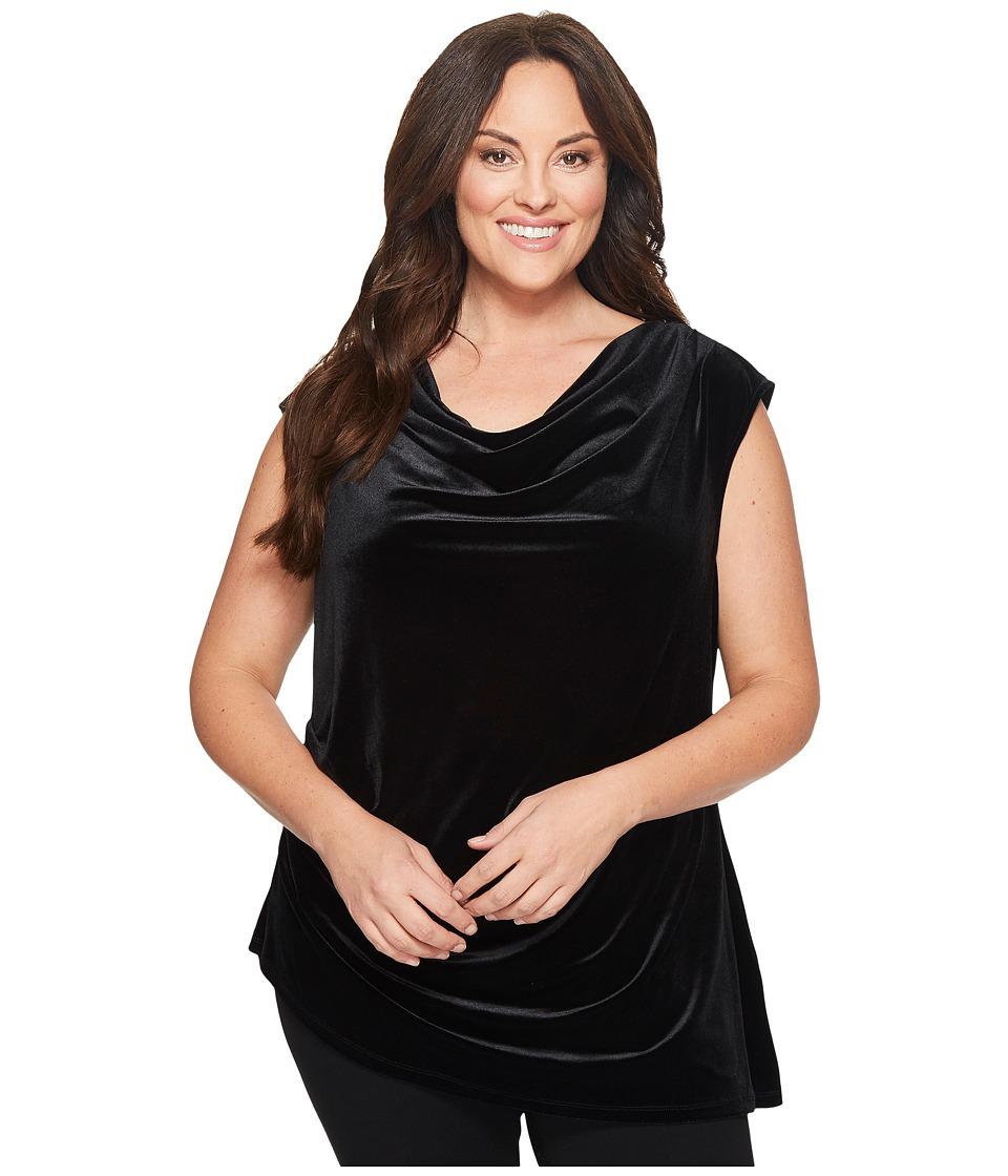 Calvin Klein Plus Plus Size Velvet Top w/ Angle Bottom (Black) Women