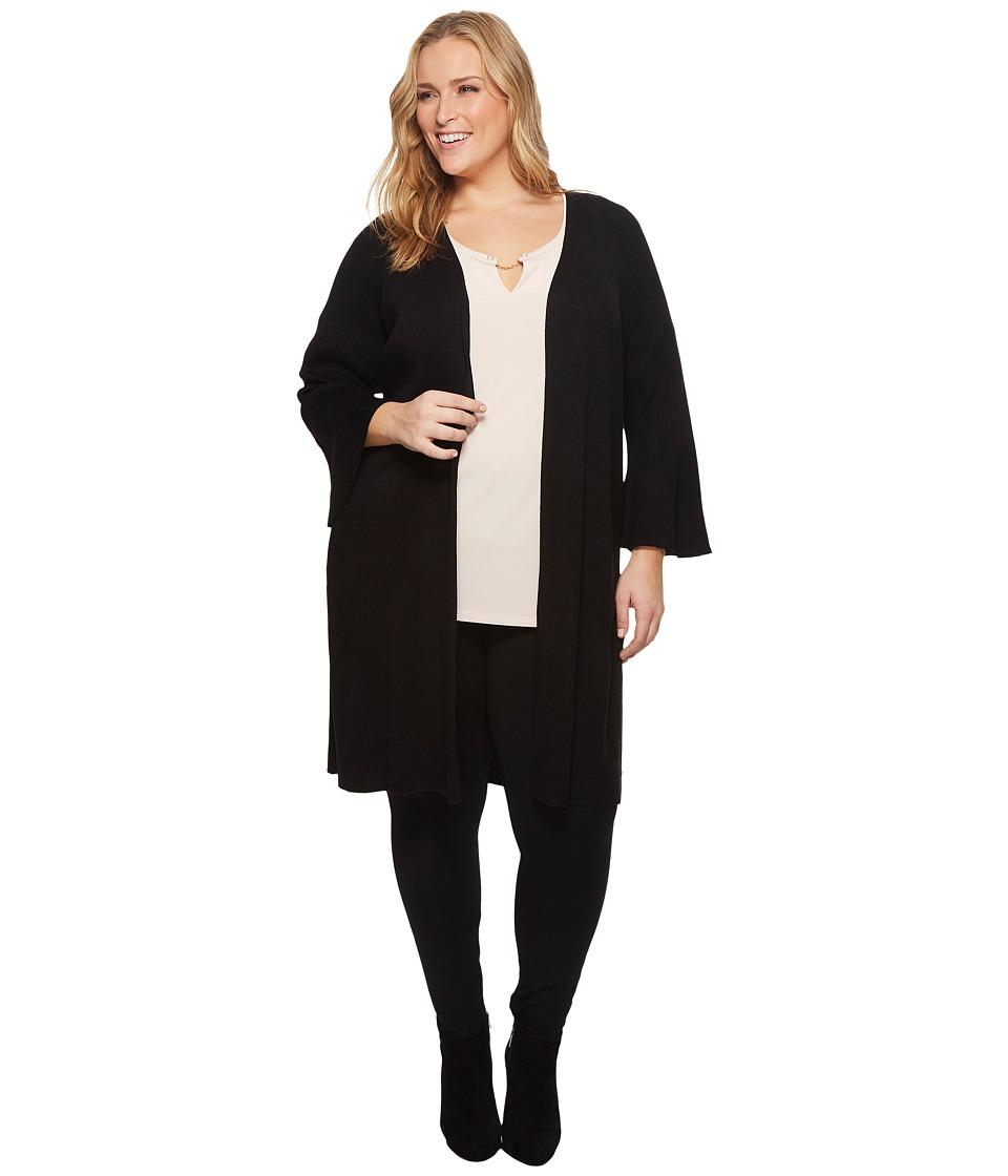Calvin Klein Plus Plus Size Long Flare Sleeve Cardigan (Black) Women