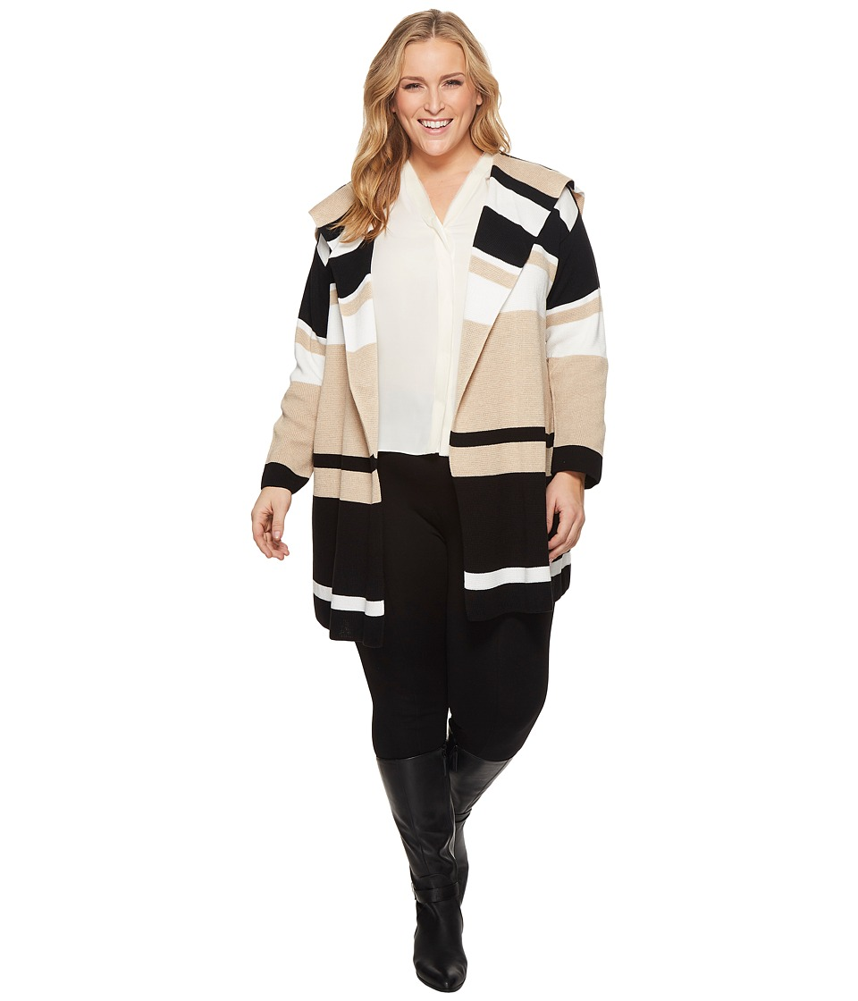 Calvin Klein Plus Plus Size Blocked Sweater Jacket (Heather Latte/Winter White Stripe) Women