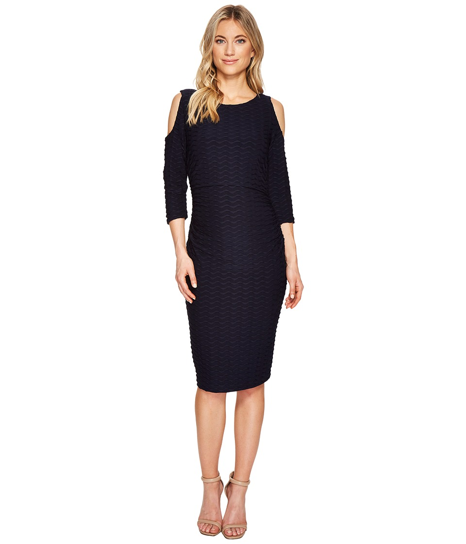 Adrianna Papell Cold Shoulder Fitted Dress (Blue Moon) Women