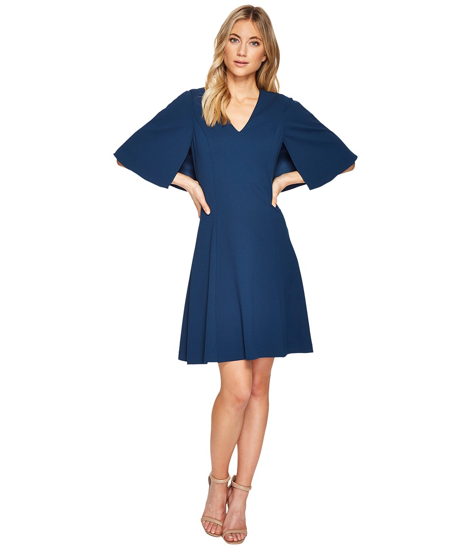Adrianna Papell Knit Crepe Aline Fit and Flare (Evening Sky) Women