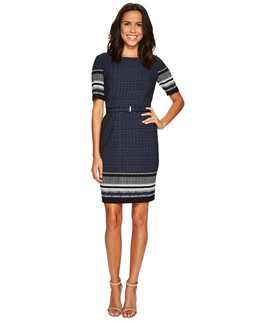Adrianna Papell Mixed Herringbone Sheath Dress (Blue/Black Multi) Women
