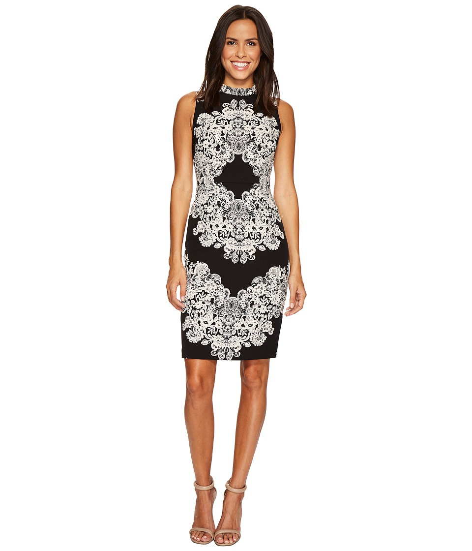 Adrianna Papell Lace Printed Mock Neck (Black/Beige) Women