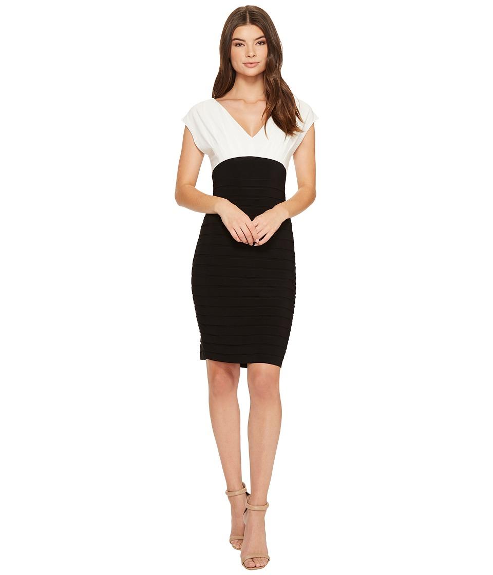 Adrianna Papell Banded V-Neck Sheath Dress (Ivory/Black) Women