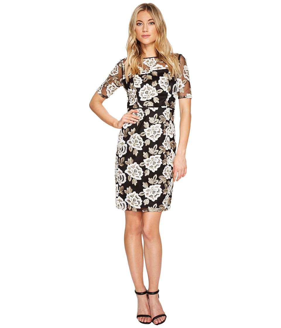 Adrianna Papell Embroidered Sheath Dress (Ivory/Gold) Women