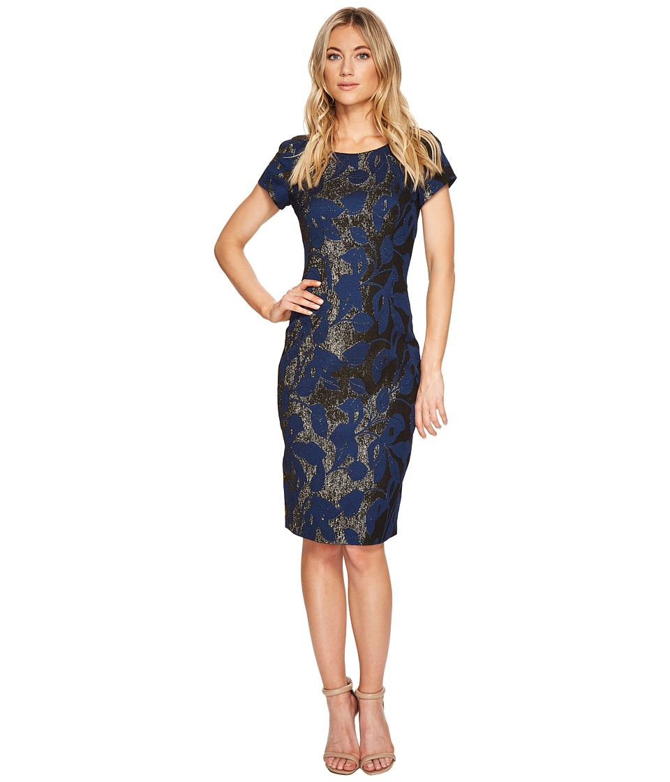 Adrianna Papell Metallic Jacquard Sheath Dress (Navy) Women
