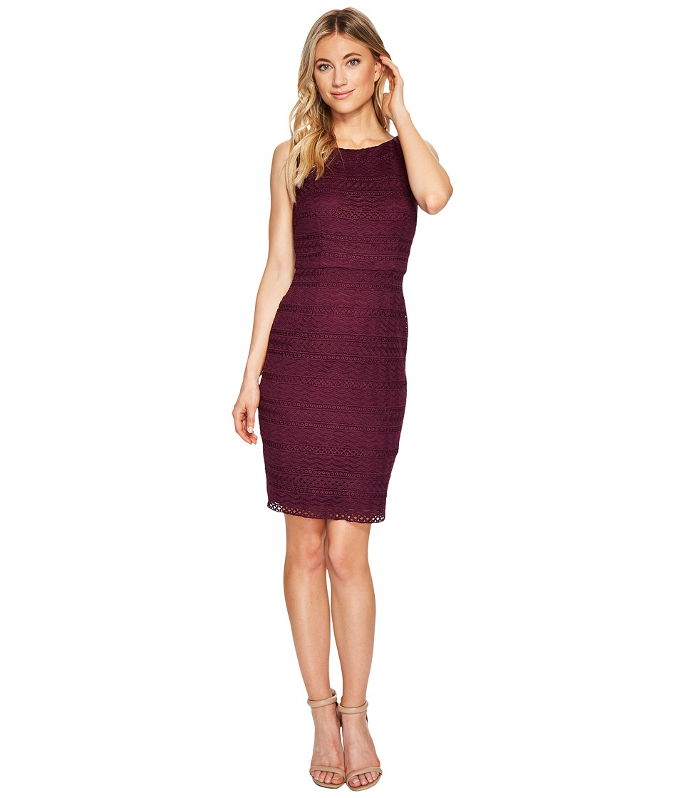 Adrianna Papell Julia Fringe Lace Sheath Dress (Beetroot/Bisque) Women