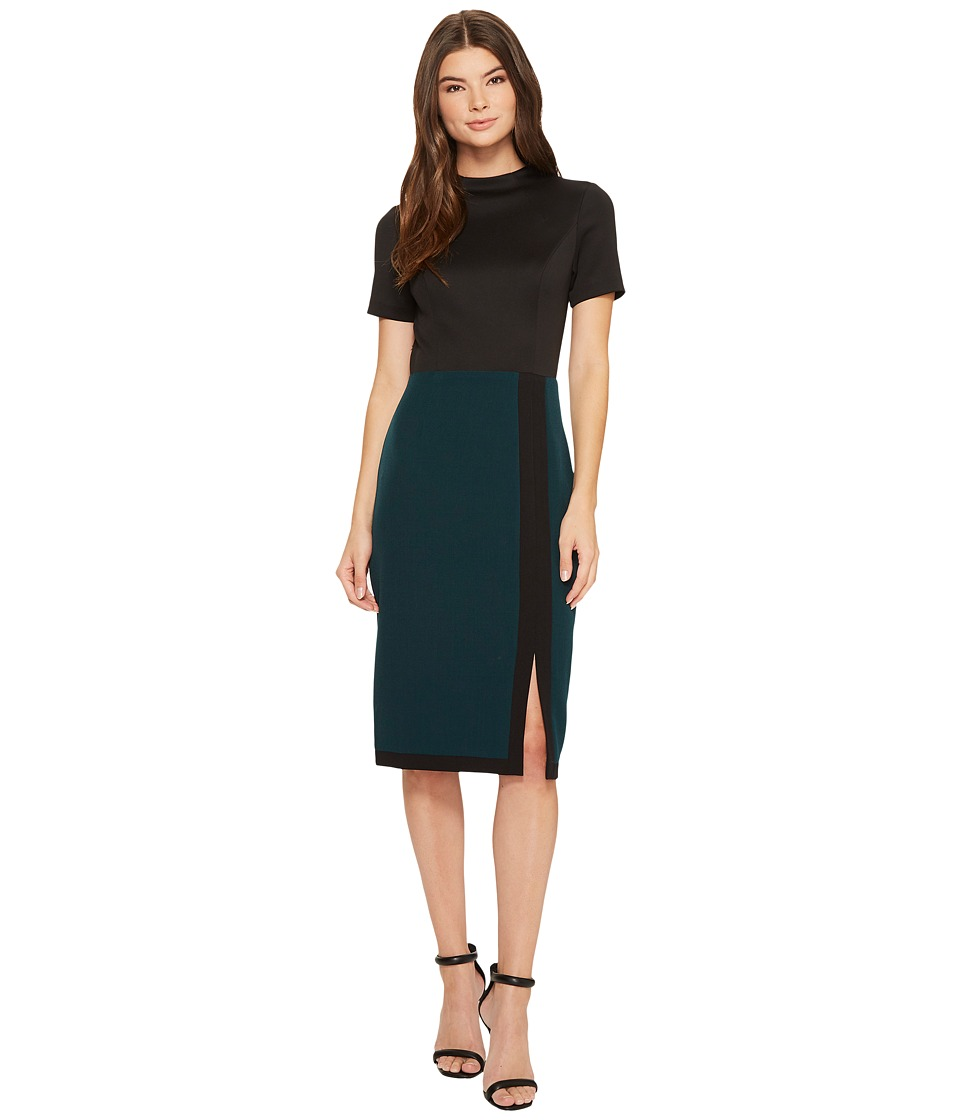 Adrianna Papell Scuba and Crepe Color Blocked Sheath (Hunter/Black) Women