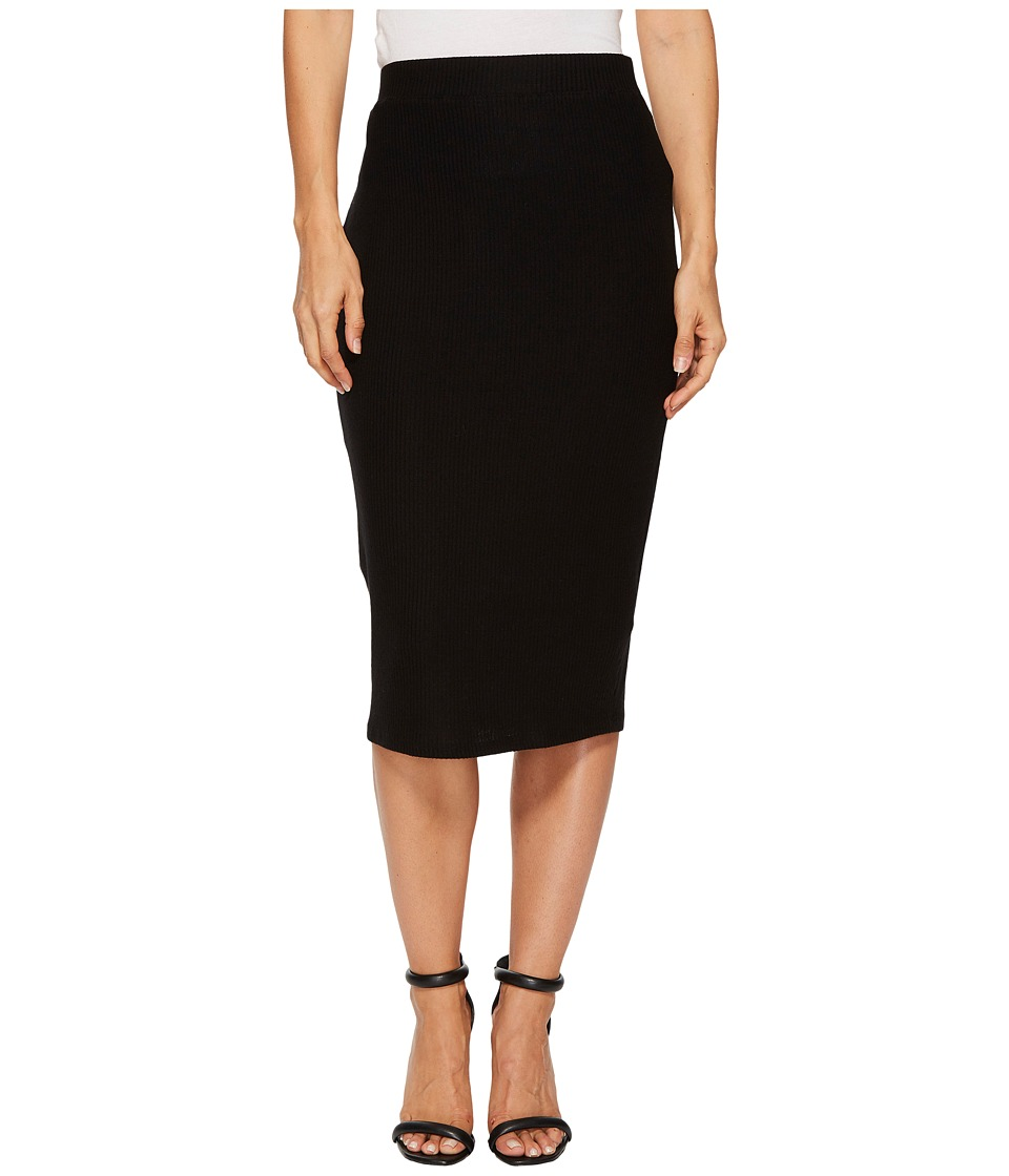 Three Dots Brushed Sweater Midi Skirt (Black) Women's Skirt