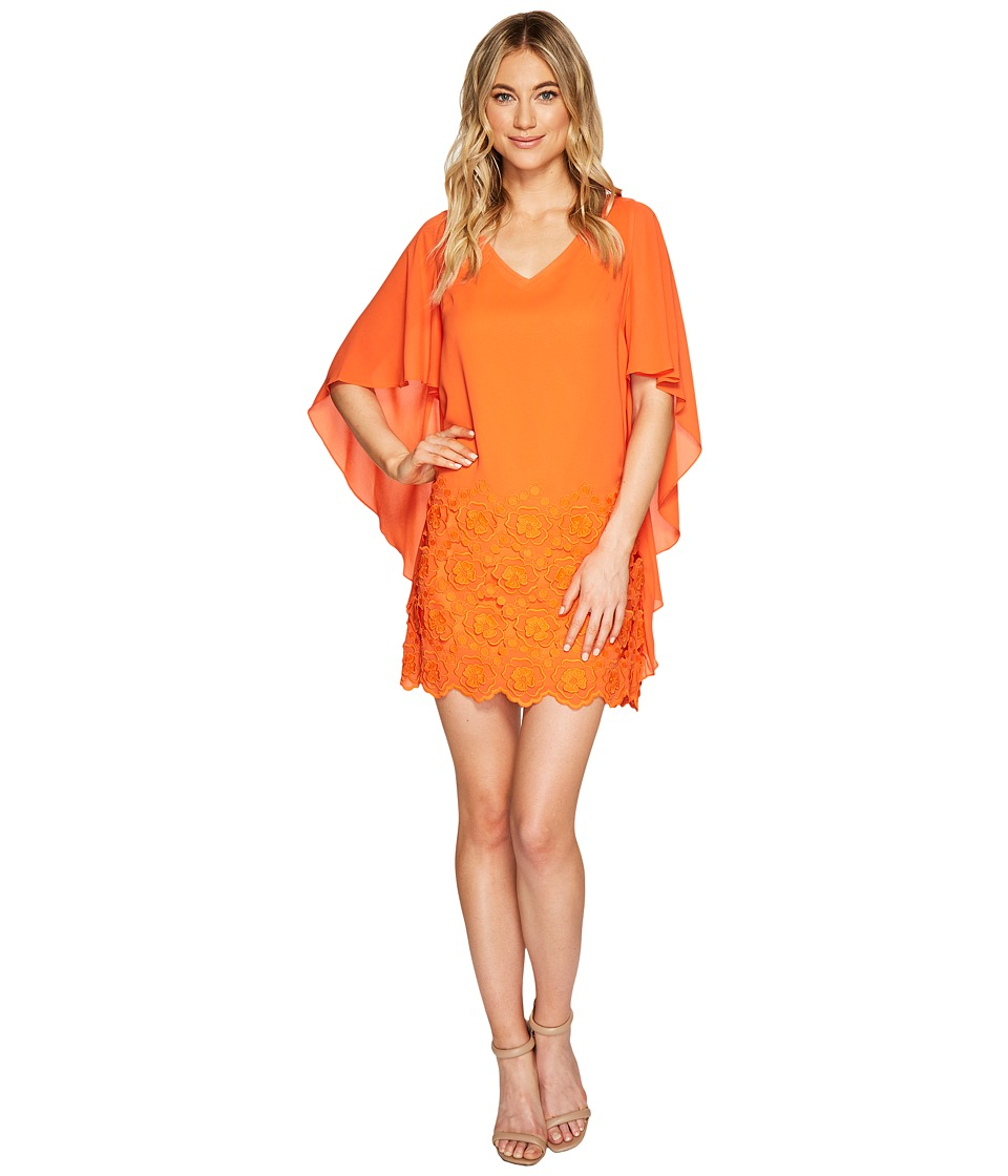 Tahari by ASL - V-Neck Embroidered Chiffon Shift Dress (Tangerine) Women's Dress