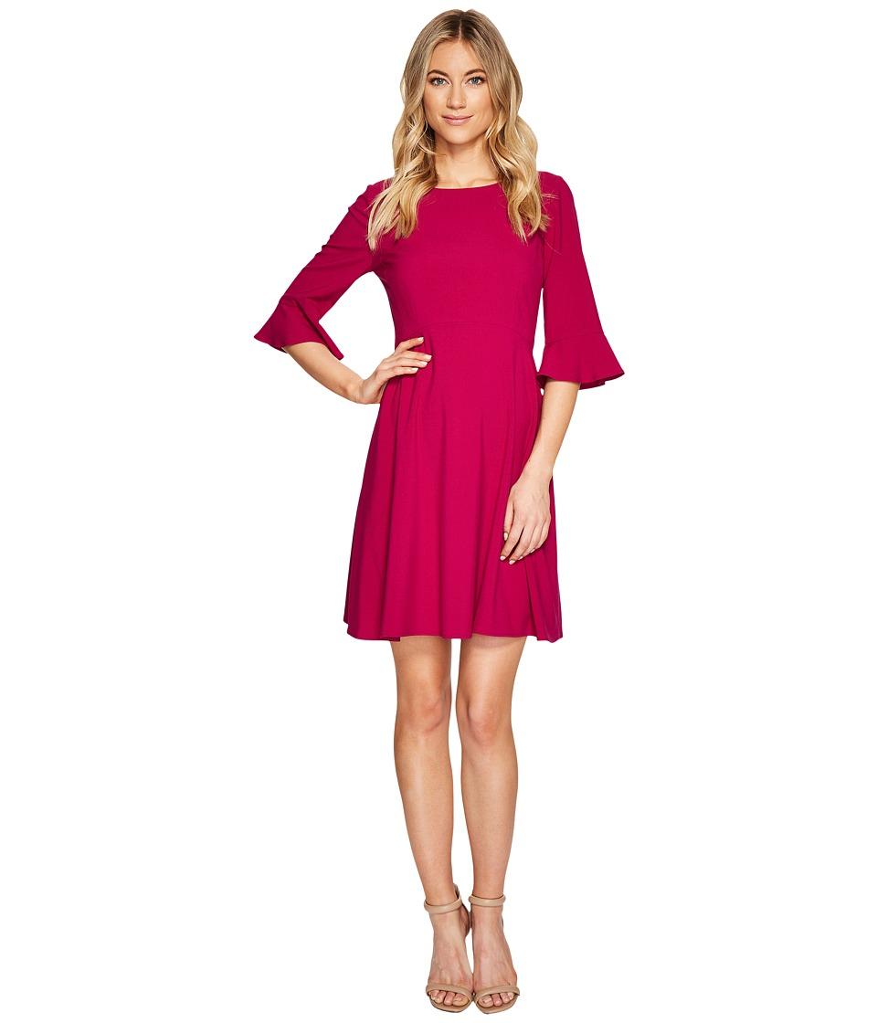 Tahari by ASL - 3/4 Ruffle Sleeve Shift Dress (Magenta) Women's Dress