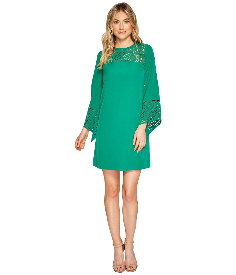 Tahari by ASL - 3/4 Sleeve Cut Out Detail Shift Dress (Palm Green) Women's Dress