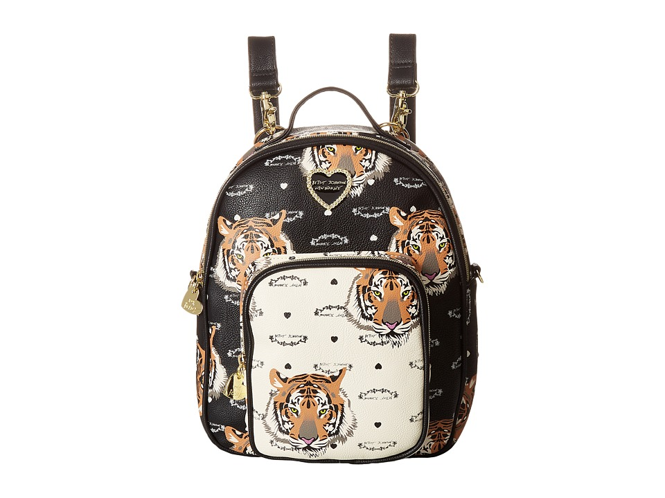 Betsey Johnson - Mini Convertible Backpack (Black/Cream) Backpack Bags