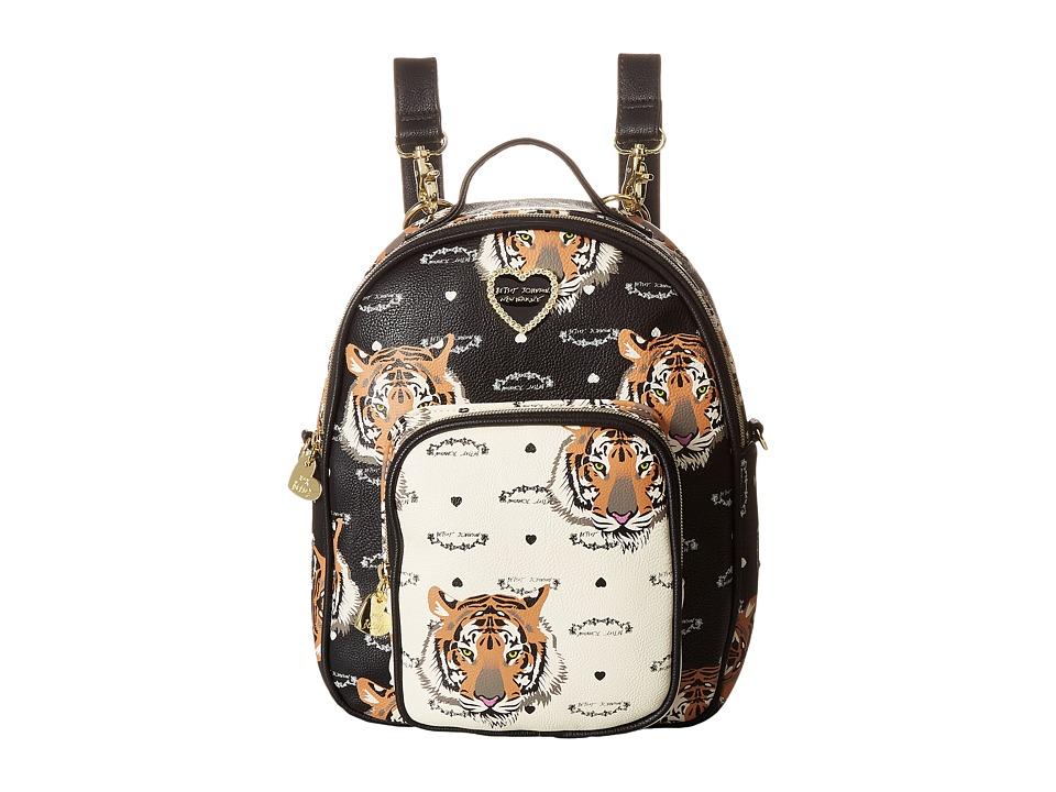 Betsey Johnson - Mini Convertible Backpack (Black/Cream) Backpack Bags