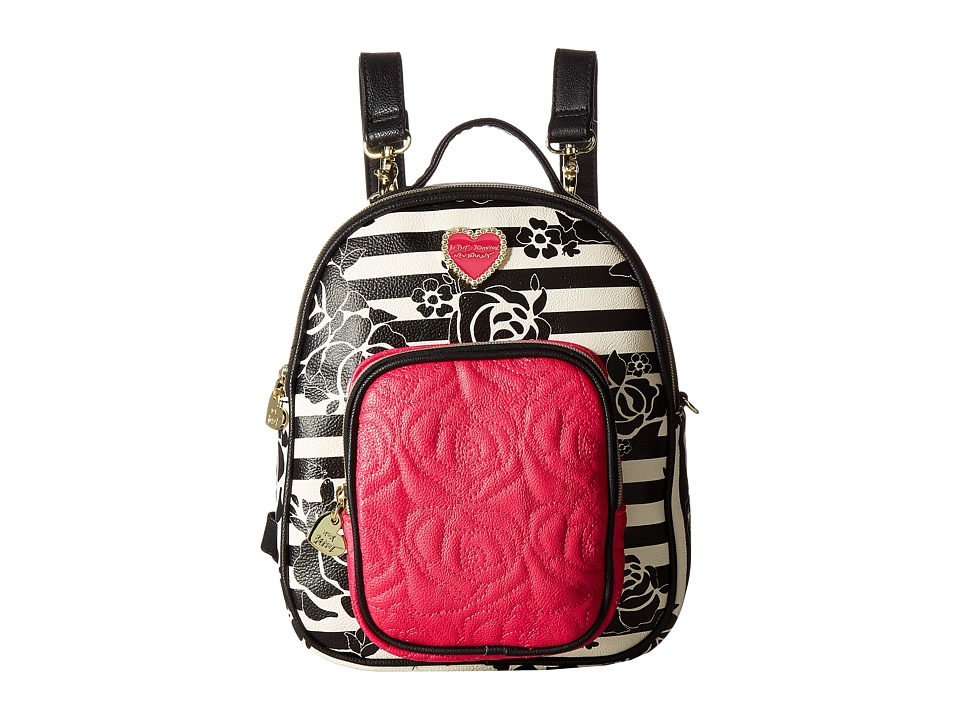 Betsey Johnson - Mini Convertible Backpack (Black Floral) Backpack Bags