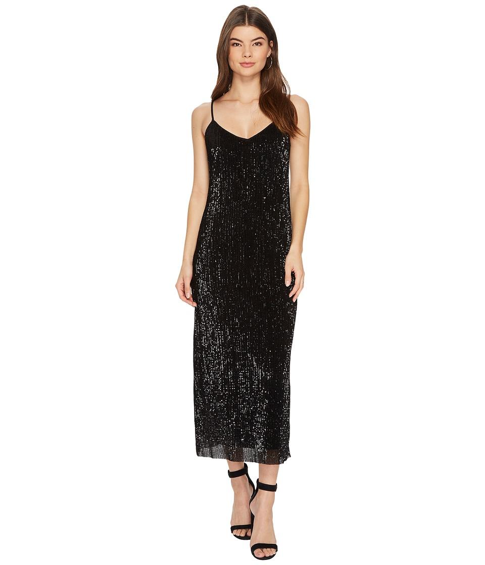 1.STATE Spaghetti Strap Midi Slip Dress (Rich Black) Women