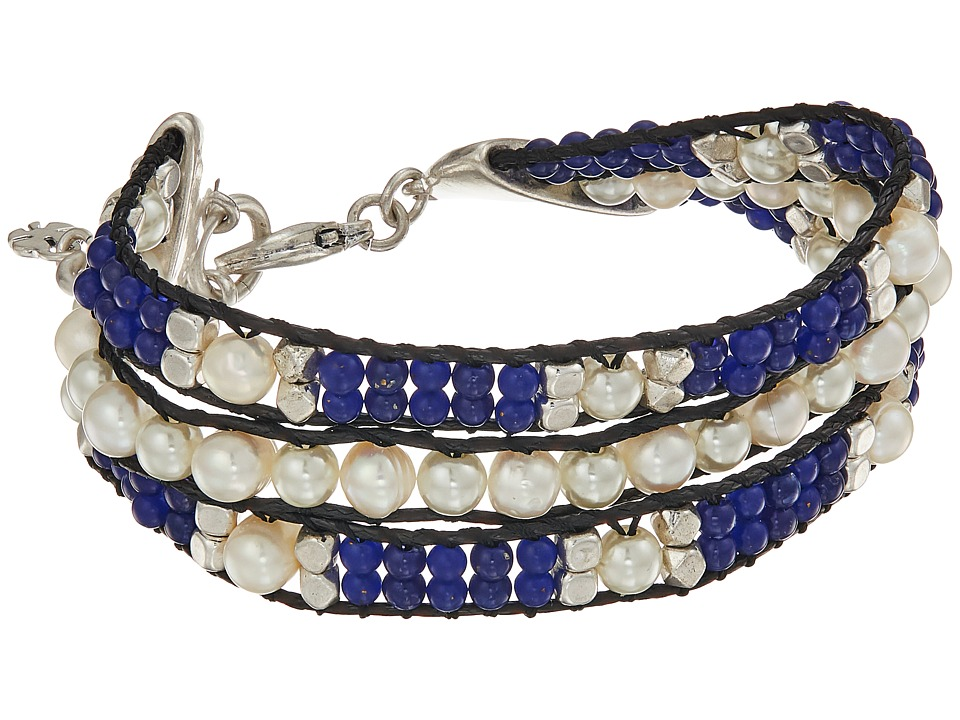 Lucky Brand - Twisted Pearl and Blue Bracelet (Silver) Bracelet