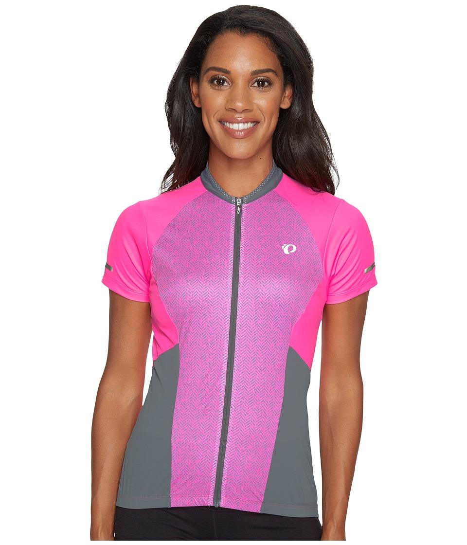 Pearl Izumi - Elite Escape Short Sleeve Jersey (Screaming Pink Parquet Stripe) Women's Clothing