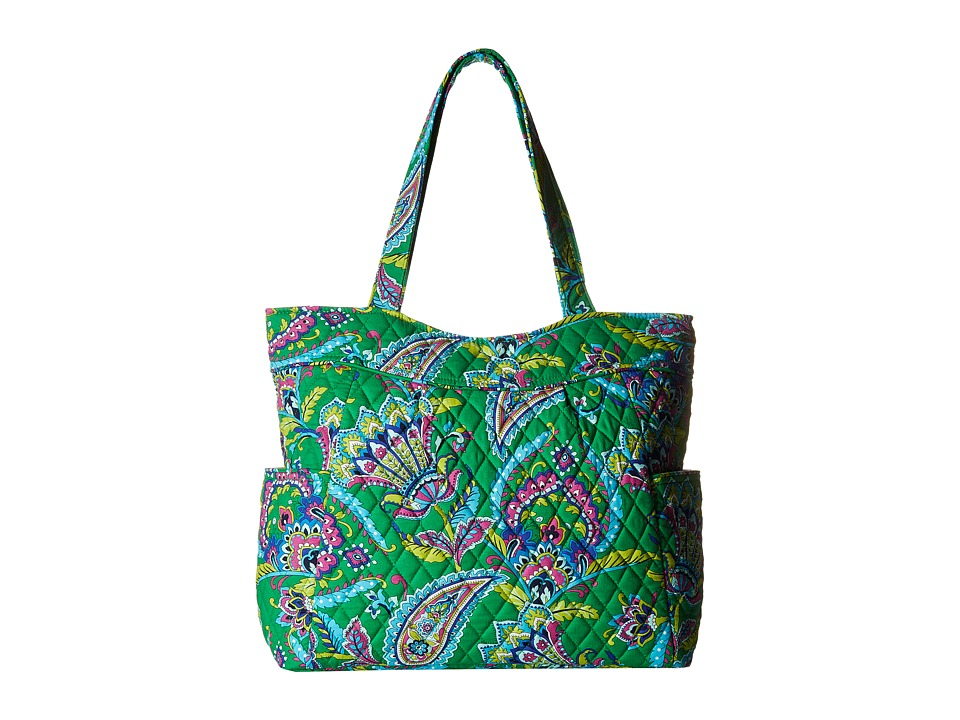 Vera Bradley - Pleated Tote (Emerald Paisley) Tote Handbags