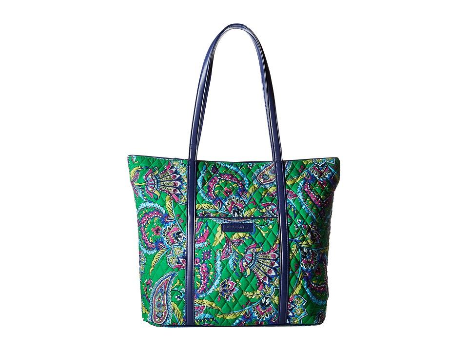 Vera Bradley - Trimmed Vera (Emerald Paisley) Tote Handbags
