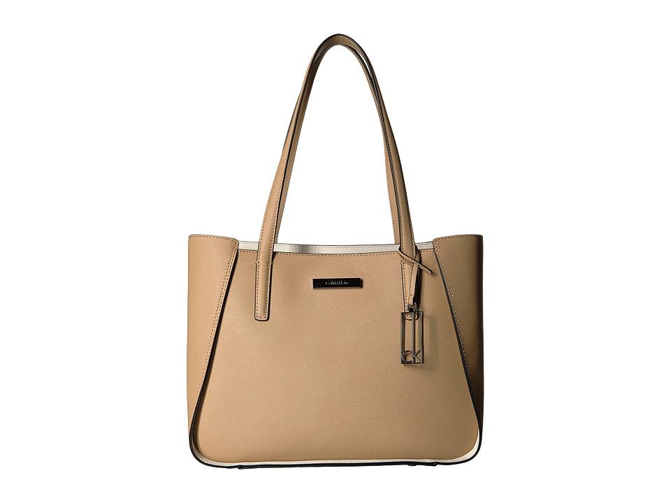 Calvin Klein - Marisa Saffiano Tote (Nude/White) Tote Handbags