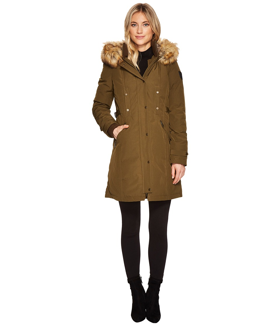 Vince Camuto Faux Fur Hooded Down with Cinch Waist N1721 (Army) Women