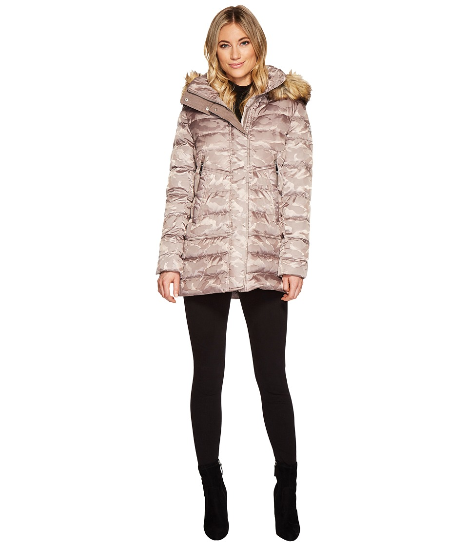 Vince Camuto Faux Fur Hooded Down with Contrast Piping N8791 (Taupe Camo) Women