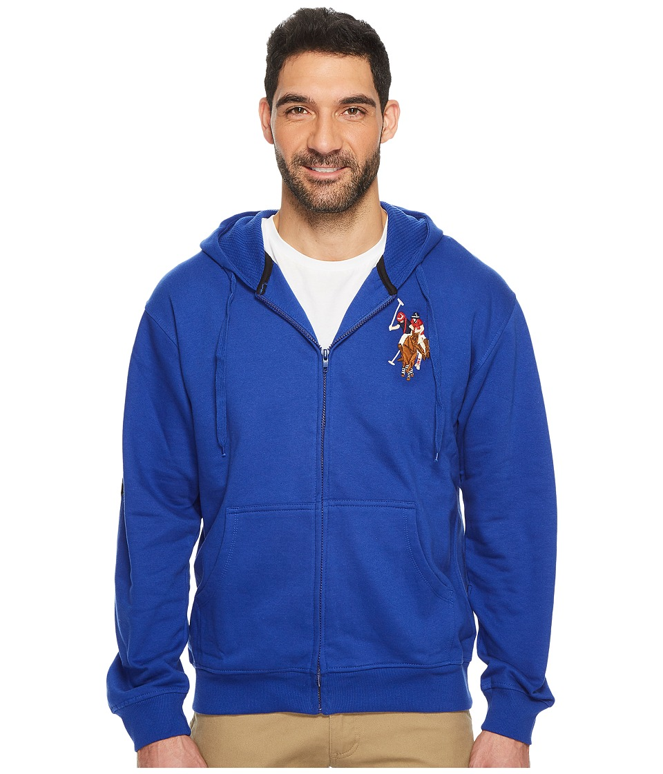 U.S. POLO ASSN. - Full Zip Hoodie W/ Multi Color Pony (Cobalt Blue) Men's Fleece