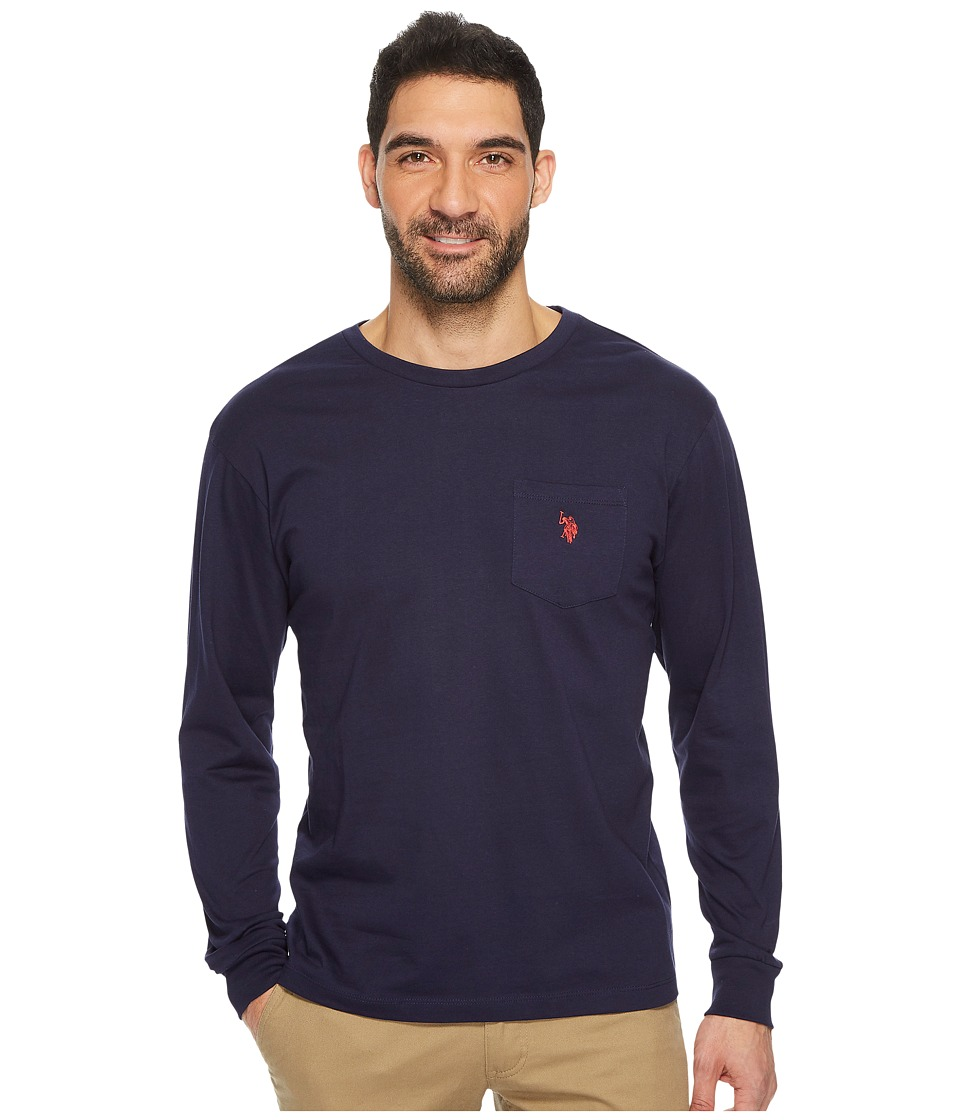 U.S. POLO ASSN. - Long Sleeve Crew Neck Pocket T-Shirt (Classic Navy) Men's Clothing