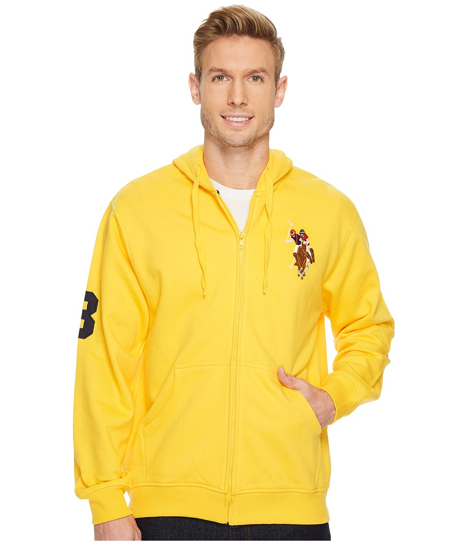 U.S. POLO ASSN. - Full Zip Hoodie W/ Multi Color Pony (Egg Yoke) Men's Fleece