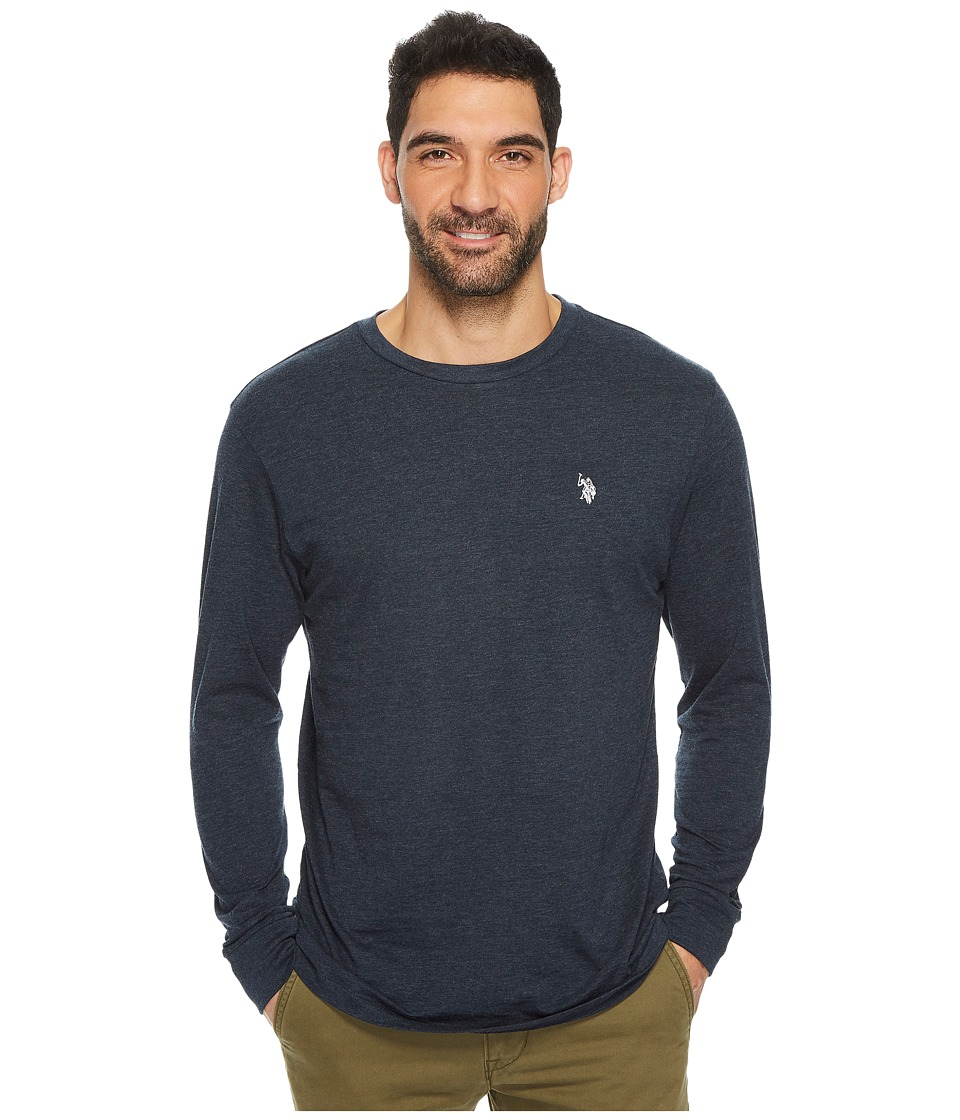 U.S. POLO ASSN. - Long Sleeve Crew Neck T-Shirt (Peacoat Heather) Men's T Shirt