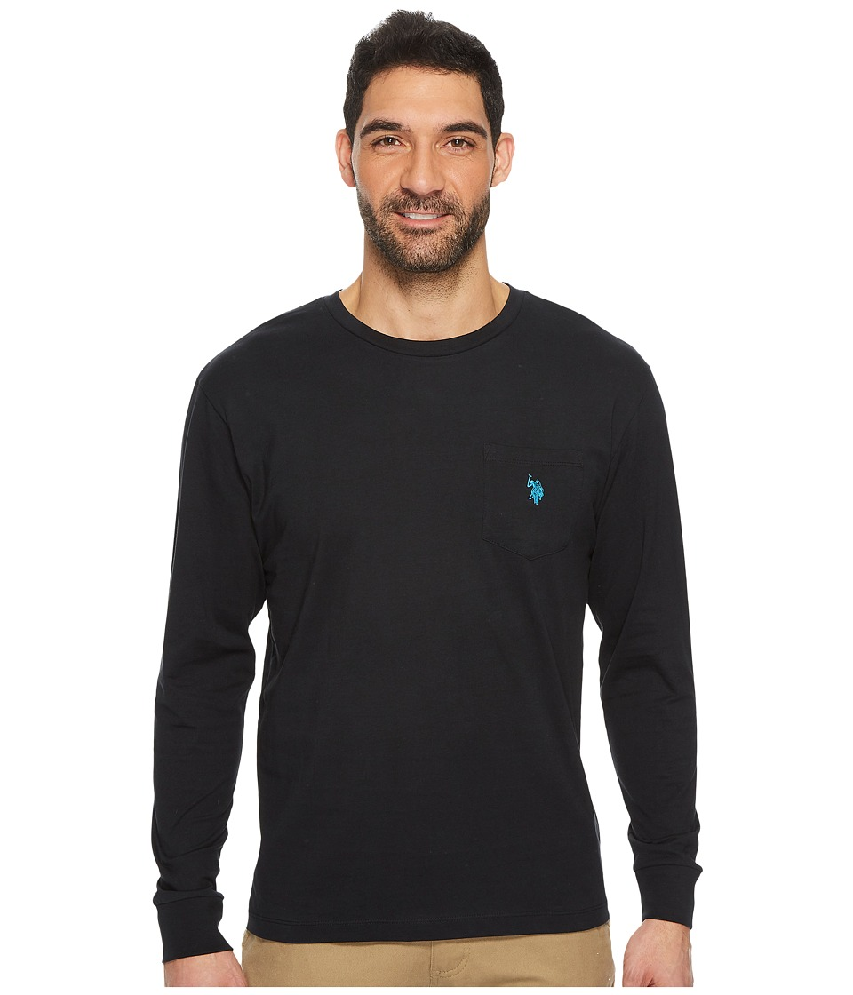 U.S. POLO ASSN. - Long Sleeve Crew Neck Pocket T-Shirt (Black) Men's Clothing