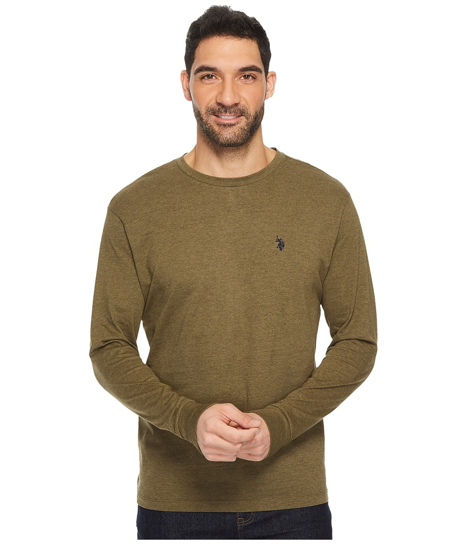 U.S. POLO ASSN. - Long Sleeve Crew Neck T-Shirt (Military Green Heather) Men's T Shirt