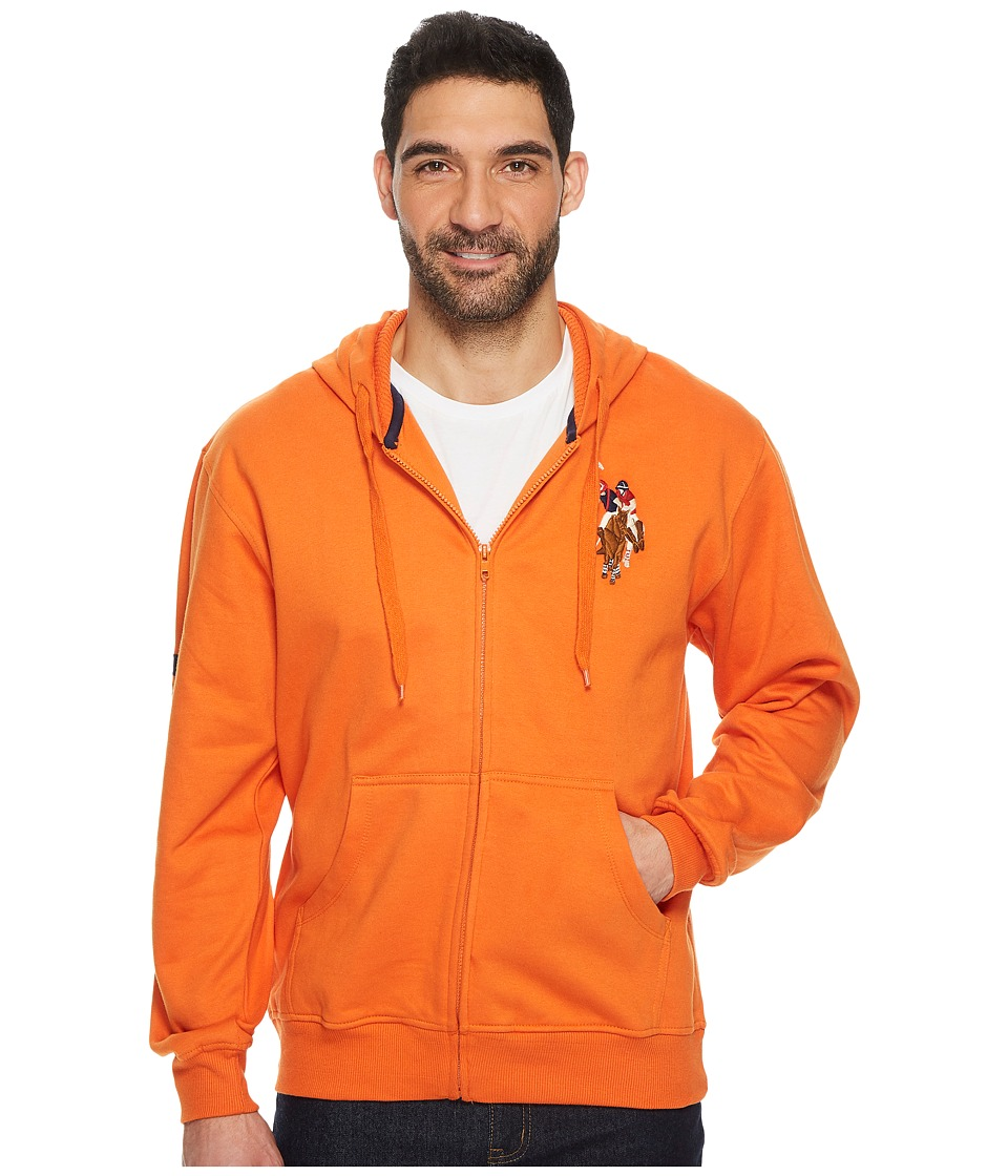 U.S. POLO ASSN. - Full Zip Hoodie W/ Multi Color Pony (Autumn Sunset) Men's Fleece