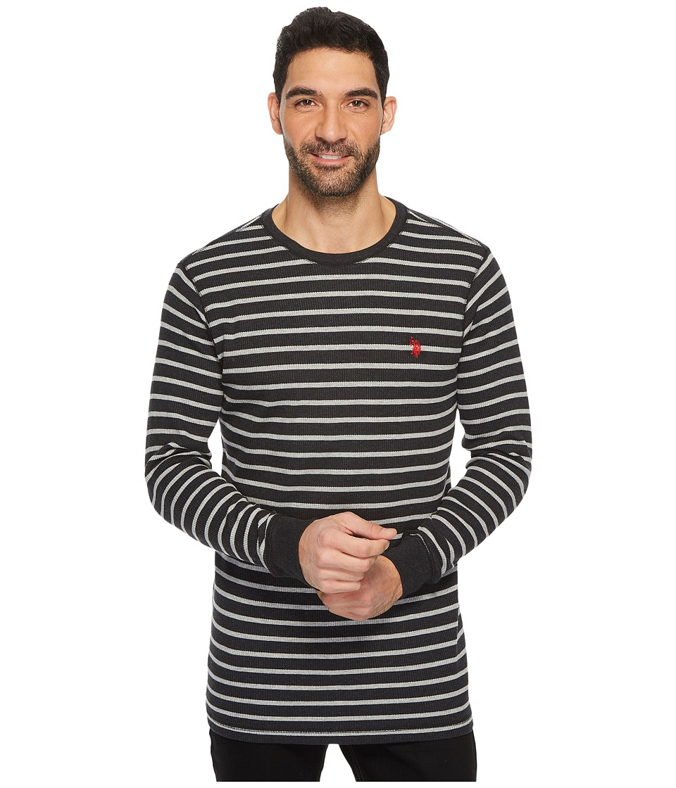 U.S. POLO ASSN. - Long Sleeve Striped Crew Neck Thermal Pullover (Black Heather) Men's Long Sleeve Pullover