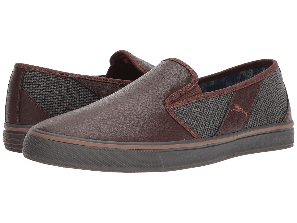 Tommy Bahama - Pacific Crest (Dark Grey/Dark Brown) Men's Slip on Shoes