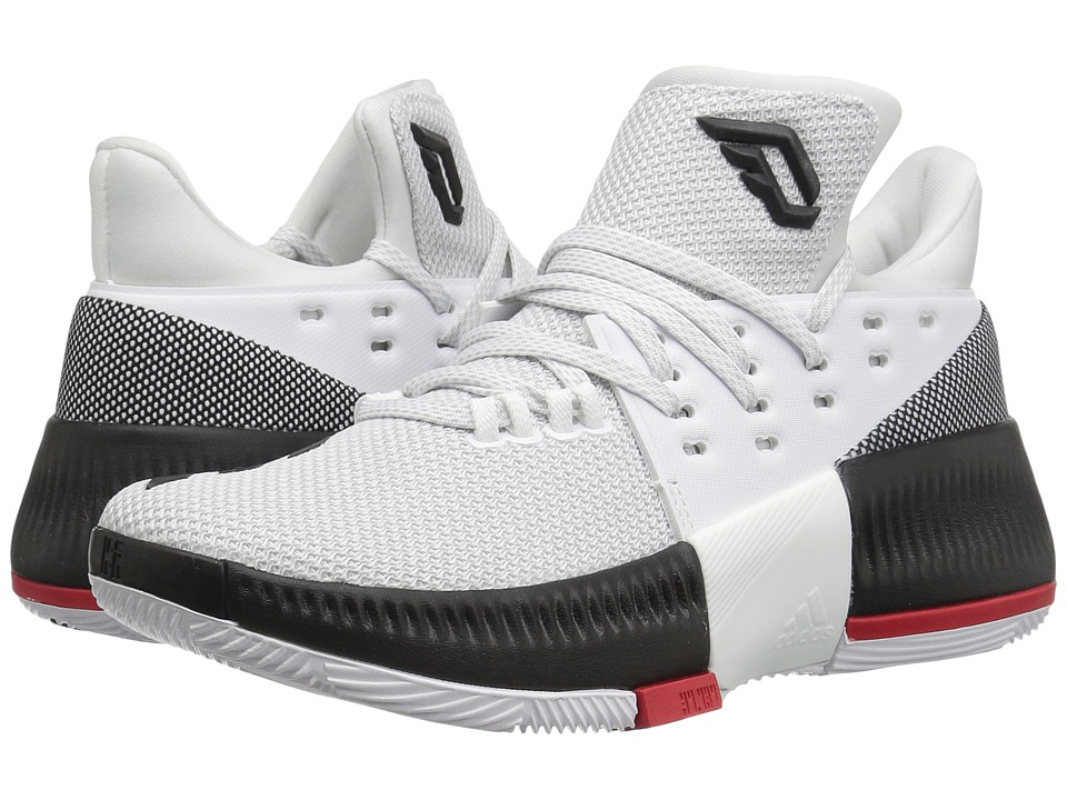 adidas Kids D Lillard 3 (Big Kid) (White/Black/Scarlet) Kids Shoes