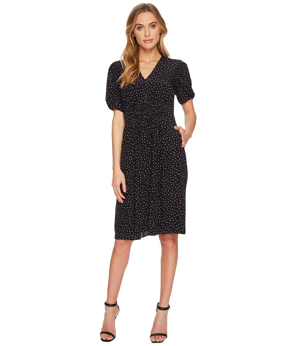 Rebecca Taylor Short Sleeve Hummingbird Dress (Black Combo) Women