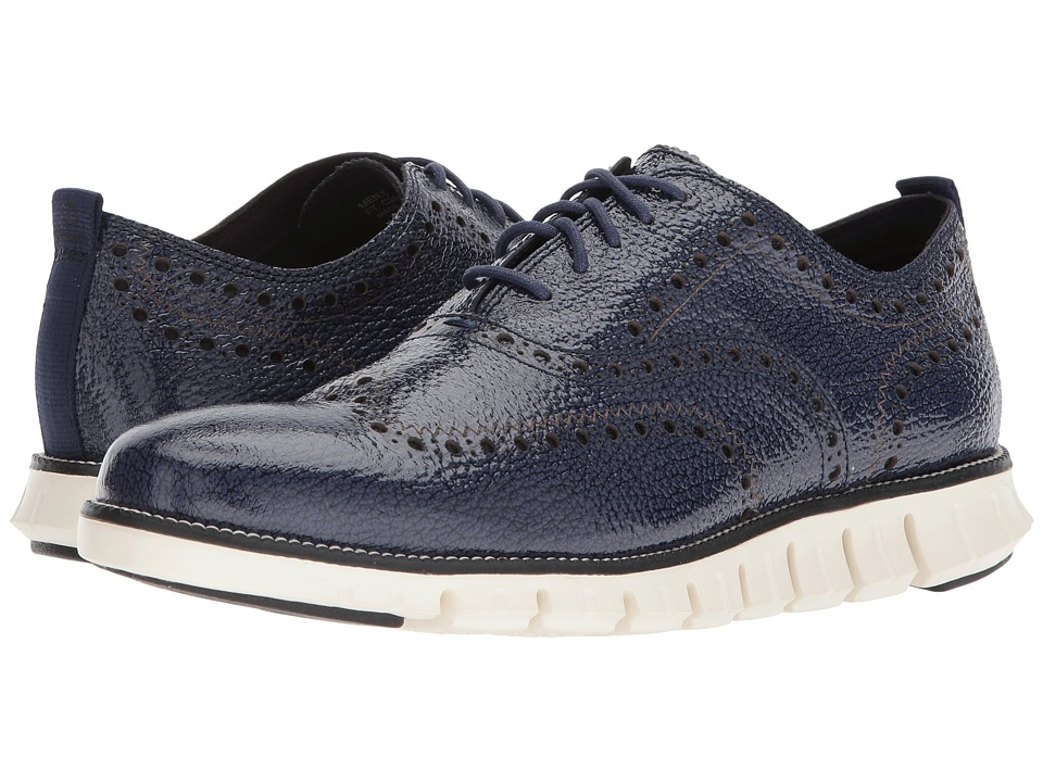 Cole Haan ZeroGrand Wingtip Oxford II (Marine Blue/Ivory) Men