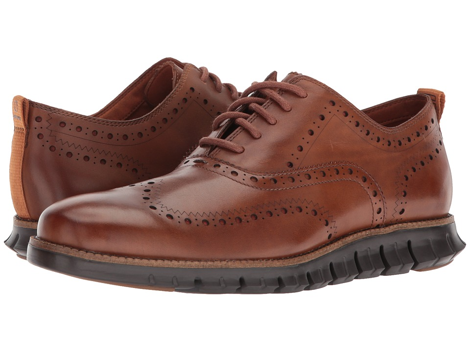 Cole Haan ZeroGrand Wingtip Oxford II (British Tan/Dark Roast) Men