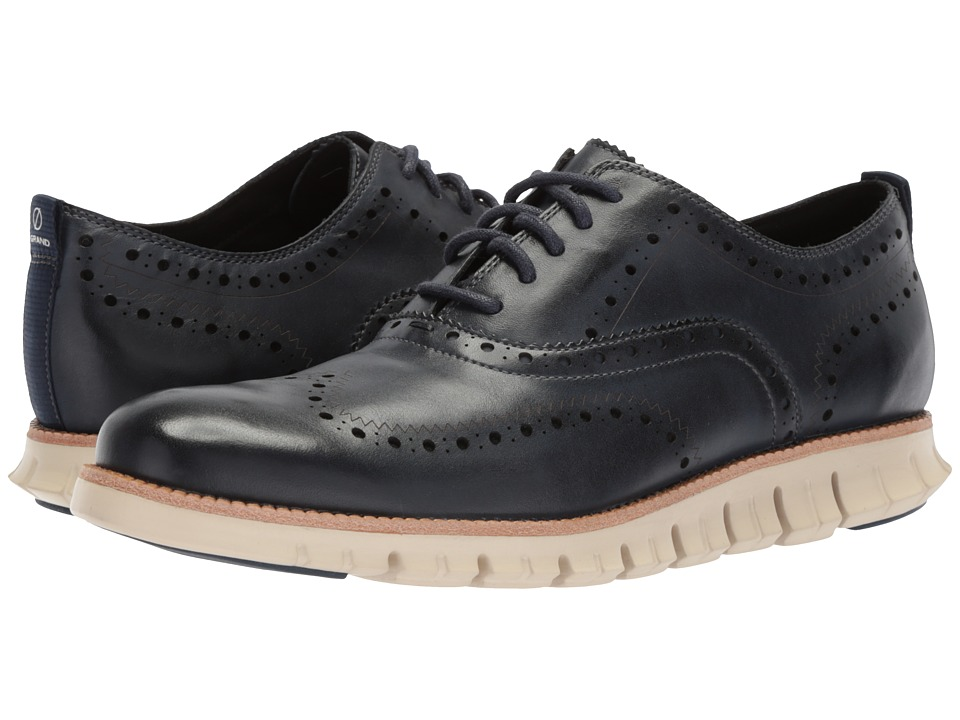Cole Haan ZeroGrand Wingtip Oxford II (Blazer Blue Leather/Ivory) Men