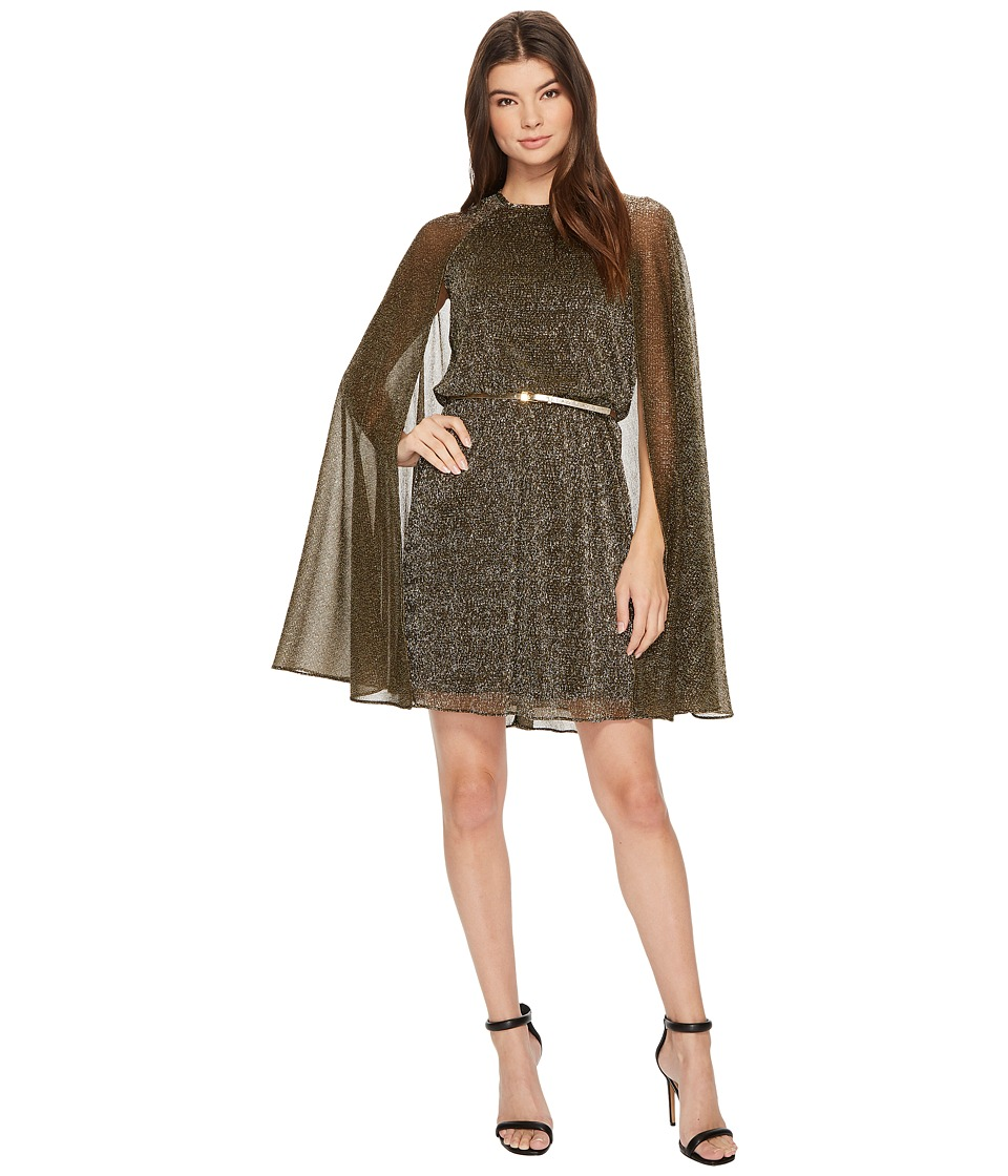 Calvin Klein Belted Glitter Cape Dress