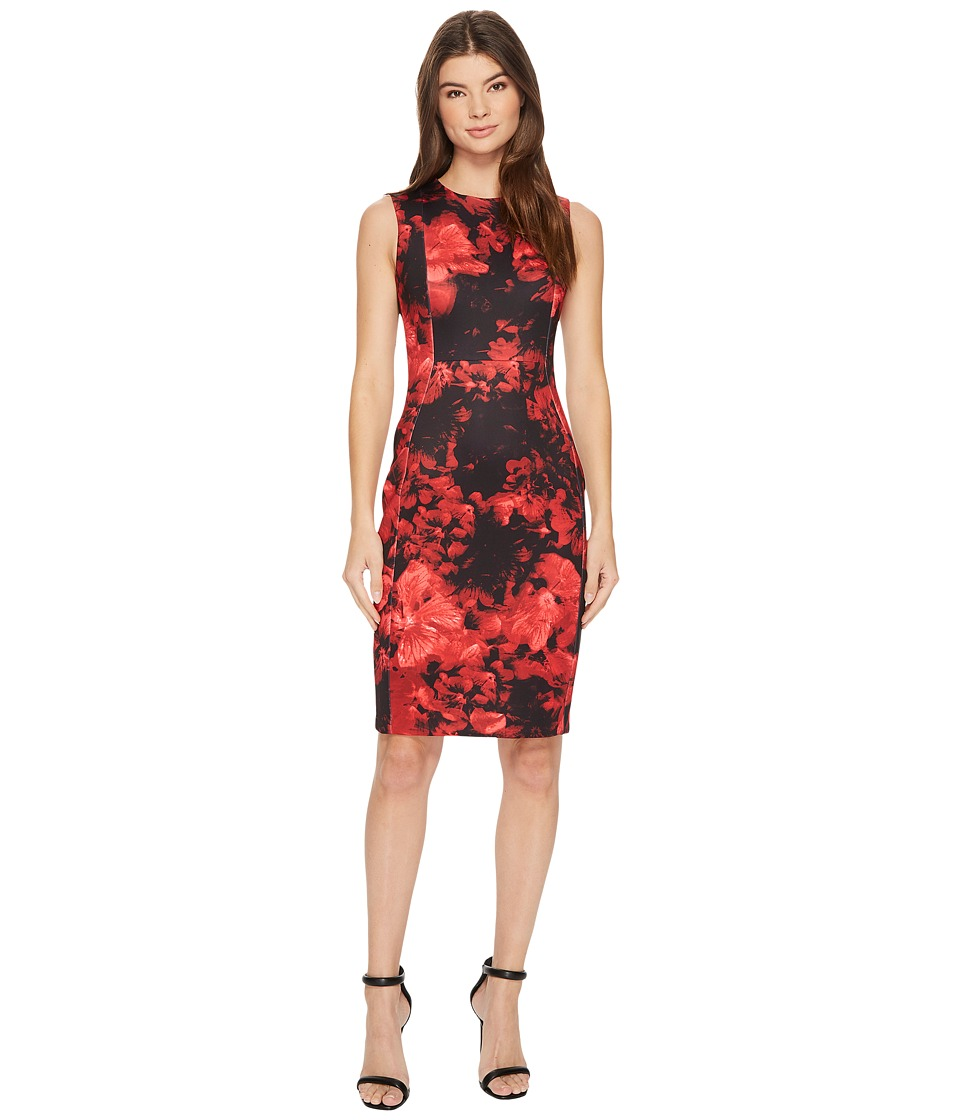 Calvin Klein Flower Print Sheath CD7MC83X Red Multi Dress