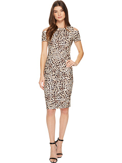 Cold Shoulder Animal Print Sheath Cd7 C814 R by Calvin Klein