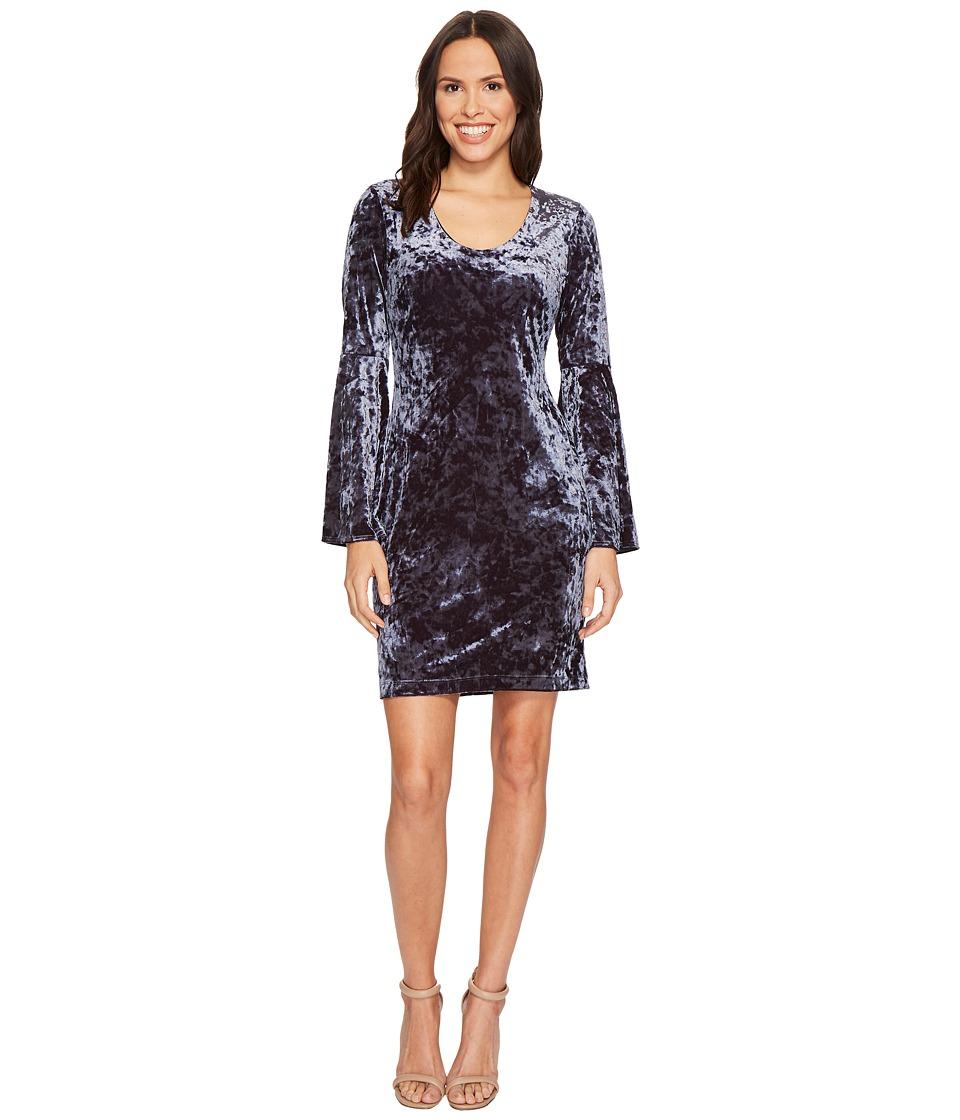 Karen Kane Velvet Bell Sleeve Dress (Gray) Women