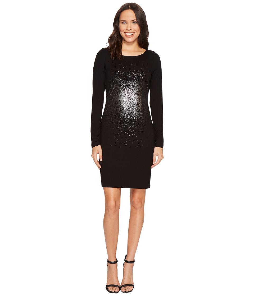 Karen Kane Metallic Ombre Sheath Dress (Black/Silver) Women