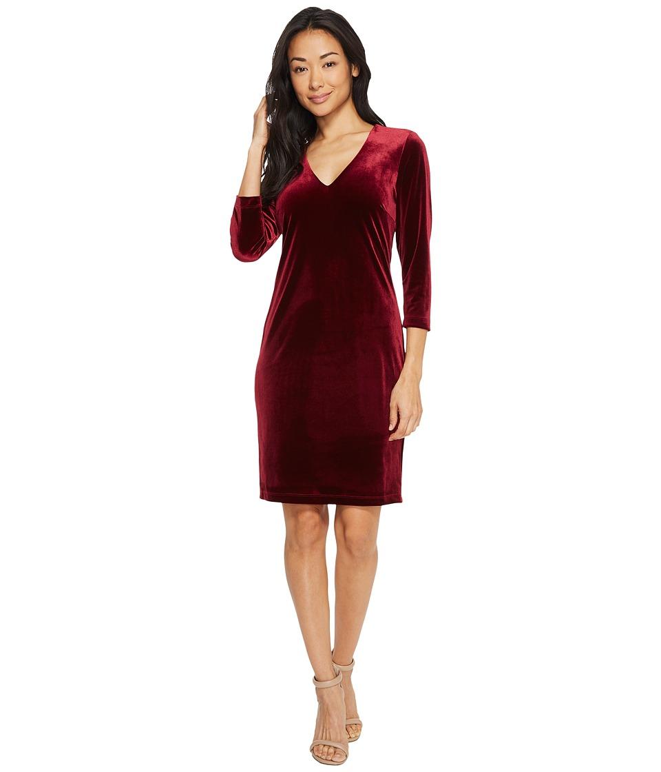Karen Kane Velvet V-Neck Sheath Dress (Wine) Women