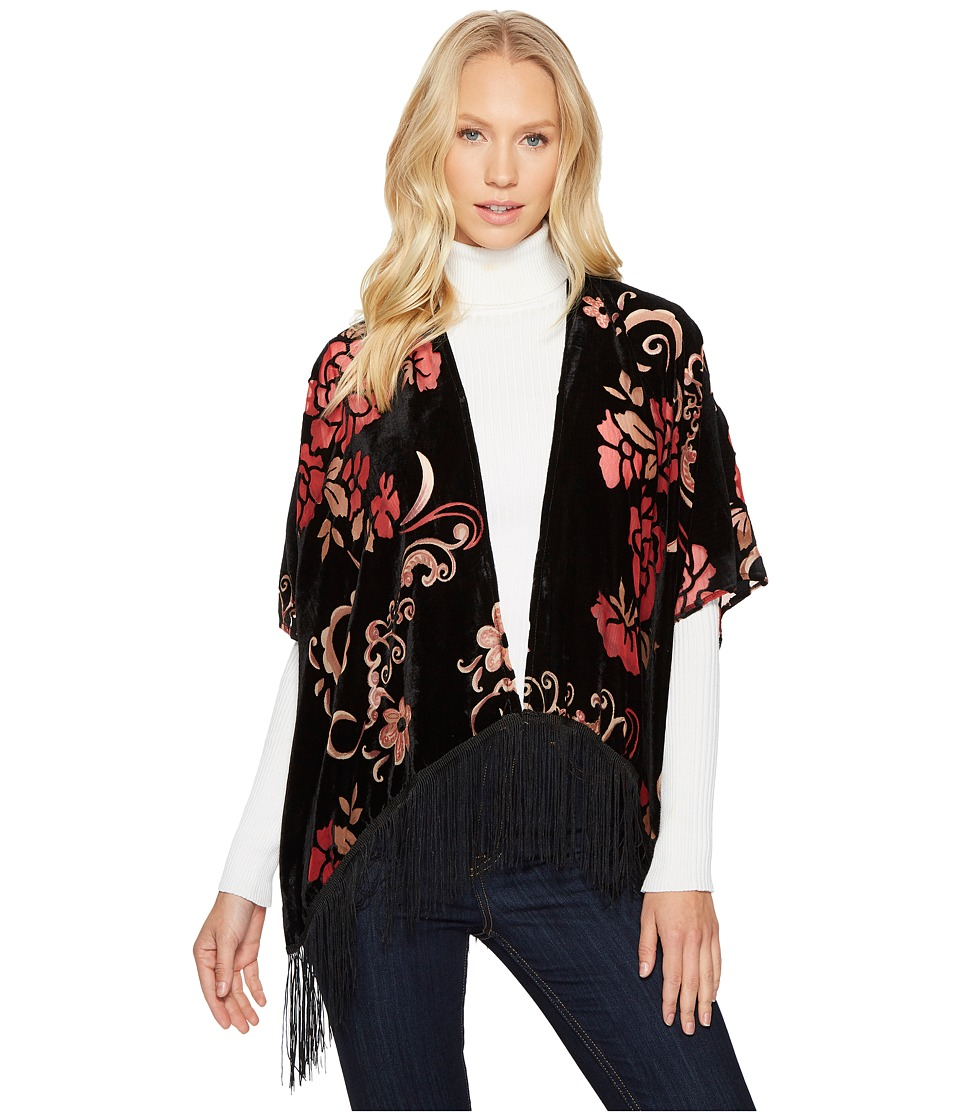 Image of Bindya - Burgundy Floral Velvet Kimono (Burgundy) Women's Clothing
