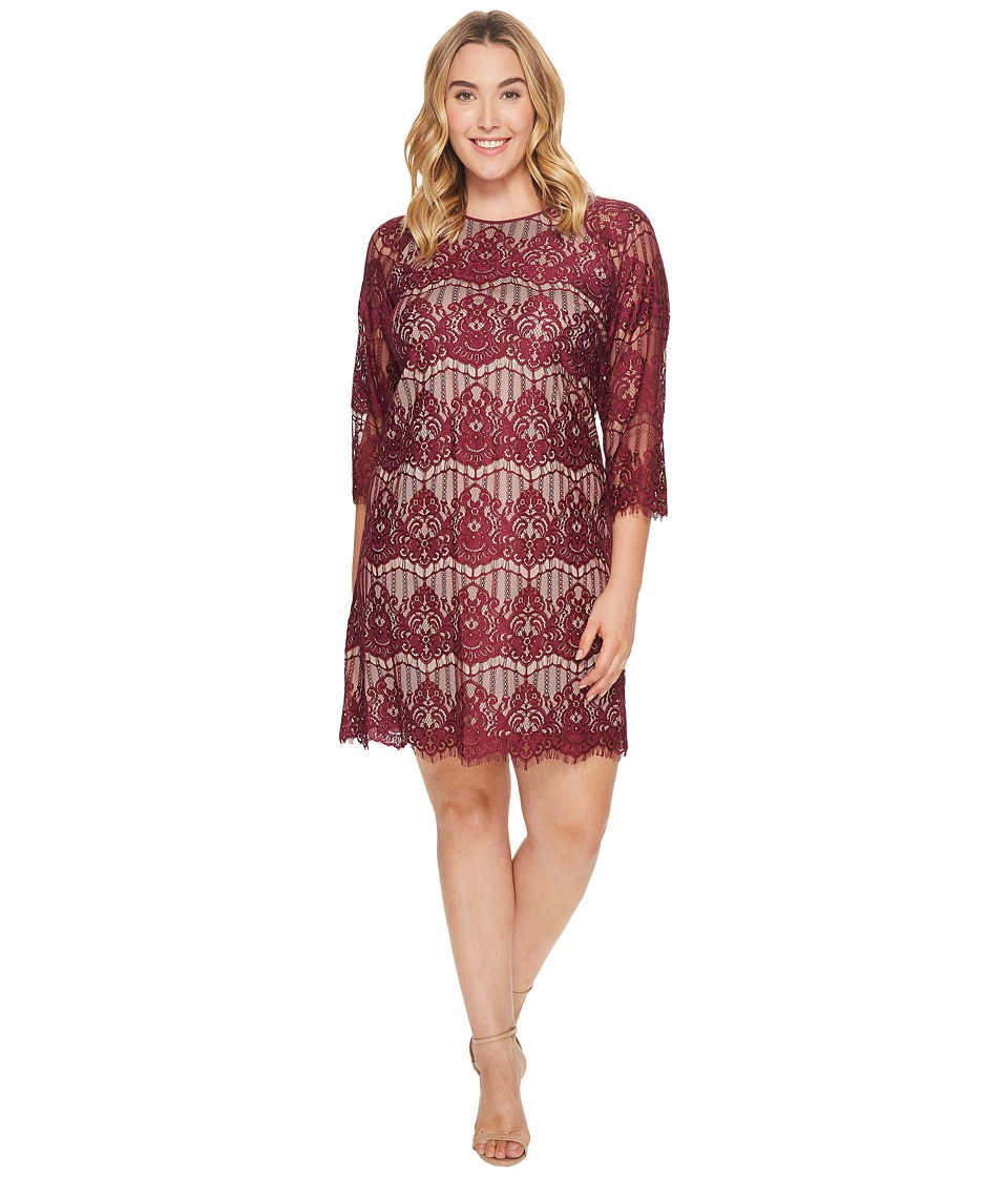 Adrianna Papell Plus Size Scalloped Lace Trapeze Dress (Burgundy/Bisque) Women